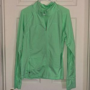 Neon green full zip athletic jacket